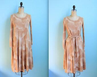 vintage 70s Diane von Furstenberg jersey dress and white / brown / maxi / size small / as is / vintage DVF designer dress