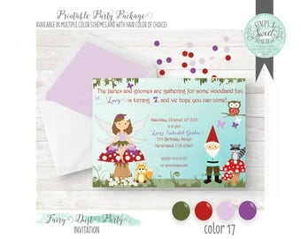 PRINTABLE INVITATION. Woodland Fairy & Gnome Birthday Party in red, green and purple. Jpeg or PDF file. Includes Hair Color of Choice