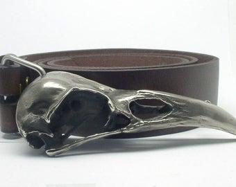 Real Raven Skull Cast Belt Buckle - Side Orientation -  White Bronze ***Without Belt***