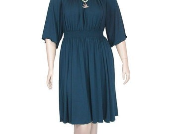 Womens Peasant Dress- Shirred Waist-Choice of Bamboo/Organic Cotton Jersey-Custom Size and Color-XXS thru Large-Made to Order