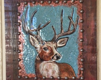 Rustic Wood Buck Deer Wall Hanging, Copper, Deer Wall Hanging, Woodland Art, Repurposed Old Wood, Wood and Copper Home Decor, Cabin Decor