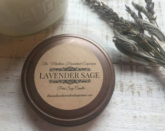 Lavender Sage scented all natural soy cande pure soy candles aromatherapy herbal fragrance spa candle Serenity peaceful Montana candles