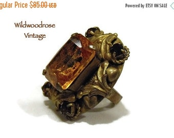 HOLIDAY SALE Vintage Art Nouveau Statement Ring & Matching Pendant - Victorian/Edwardian Style Jewelry - Gold Toned with Amber Art Glass and