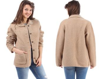 Wool Blanket Coat 70s Minimal Mini Coat Vintage Oversize Nubby Soft Wool Baggy Jacket Pocket Peter Pan Collar Pastel Beige Outerwear  Large