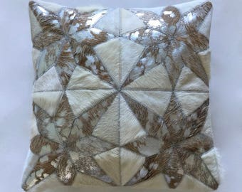 Cowhide Pillow - White Metallic Silver Patchwork Cushion - 16 x 16 in