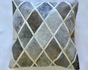 Cowhide Pillow - Gray White Patchwork Cushion - 20 x 20 in
