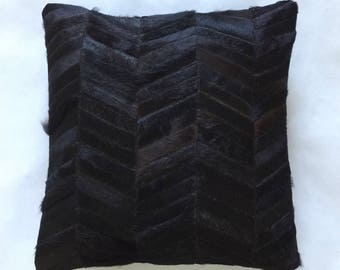Cowhide Pillow - Black Patchwork Cushion - 19 x 19 in