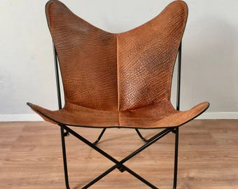 BKF Butterfly Chair - Premium Embossed Leather and Metal Frame