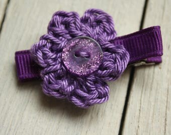 Crochet Flower Alligator Hair Clip in Purple with Non-Slip Grip Linings