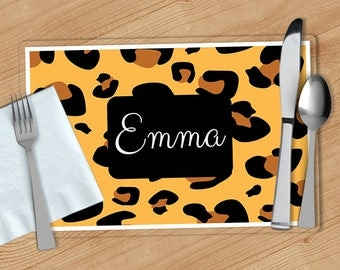Leopard Print -  Personalized Placemat, Customized Placemats, Custom Placemat, Personalized Gift