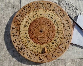 Cypher Wheel Cipher Disk Theban, Ogham, Enochian, & Celtic Rune Scripts, Cryptography, Secret Codes, Adventure Treasure Hunt, Unique Gift