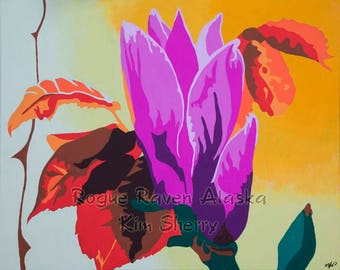 Floral print on canvas titled 'Mother's Day' by Alaska artist Kim Sherry - bright pinks, yellows and reds make this piece pop!