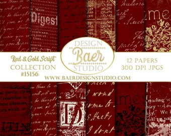 Digital Paper Vintage:Red and Gold Digital Paper, Red and Gold French Script Paper, Red and Gold Script Digital Paper, #15156