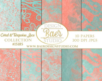 50% off:Lace Digital Paper, Coral and Turquoise Digital paper, Coral and Turquoise Lace Digital Paper, Peach and Teal Digital Paper, #15185