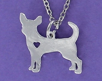 Chihuahua Silhouette Necklace - Tiny Heart Cutout Stainless Charm on a FREE Plated Chain