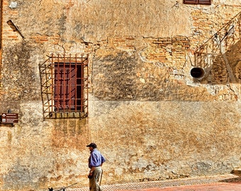 Tuscan  Old Buildings With Man Walking Dog