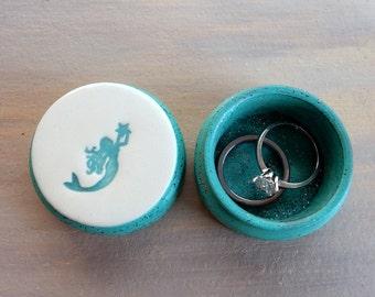 Glitter Mermaid Ring Box Beach Lover Wedding Valentines Day Anniversary Gift Jewelry Tooth Fairy Keepsake Small Wooden Pill Box Handmade