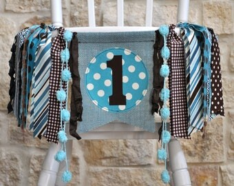 Boys teal aqua & brown first birthday highchair rag banner, fabric ONE banner cake smash photo prop high chair garland I am one little deer