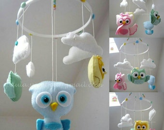 Ready to go / Sweet Owls crib mobile / ceiling mobile / hanging mobile / nursery decor / Owls