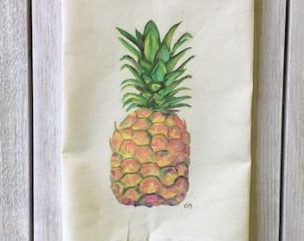 Pineapple Painting Tea Towel