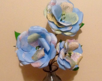 Paper flower rose bouquet world map trio of roses