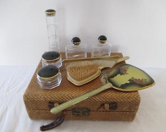 Antique Travel Cosmetic Case - Vintage Cosmetic Case - Train Case Vanity Set
