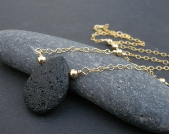 Natural Black Lava Teardrop Shape Pendant Necklace, Lava 14kt Yellow Gold Filled Necklace, Black and Gold Jewelry, Lava Pear Shape Pendant