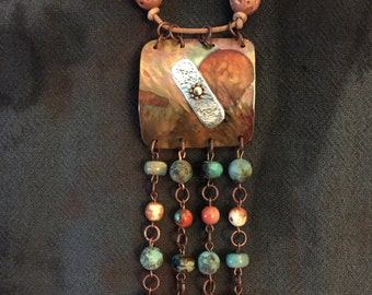 FUNKY SOUTHWEST BOHO...copper..torched..beaded..riveted..leather