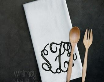 Machine embroidered kitchen towel, Monogram, Dapper Logo, Fun Saying, huck towel, 100% cotton