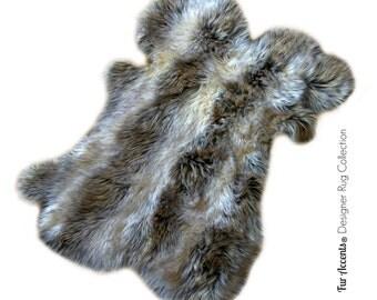 Faux Fur Shaggy Sheepskin Throw Rug - Pelt Design Shag Carpet - Gray and Off White Stripe - Original Fur Accents Designer Rugs USA