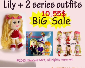 BiG Sale  Lily and 2 series outfits S13: Changeable Clothes Crochet Doll and 14 styles Outfits Pattern ( PDF only )