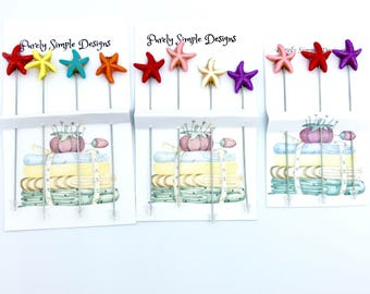 Starfish Pins, Pincushion Pins, Starfish Scrapbooking pins, Beach Theme Decorative Pins, Set of 3 or Set of 4
