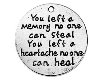 """5 Pet Memorial Charms - Antique Silver - """"You Left a Memory No One Can Steal..."""" - 24mm - Ships IMMEDIATELY from California - SC1352"""