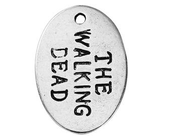 10 Walking Dead Charms - Silver Tag Pendants - 24x17mm  - Ships IMMEDIATELY - SC1349a