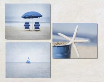 Blue Beach Art Set of Three Prints, Modern Coastal Gallery Wall, Starfish Picture, Sailboat Photography, Nautical Photo Set, Nature Artwork