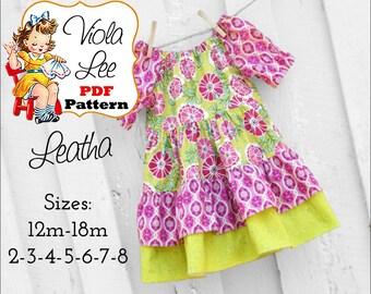 Leatha, Girl's Peasant Dress Pattern. Girl's Sewing Pattern, Toddlers Dress Pattern. Girls Dresses, pdf Sewing Patterns, Toddler Dresses
