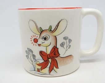 1940's Rudolph the Red Nosed Reindeer Mug, Antique RLM Christmas Cup, Vintage Childs China