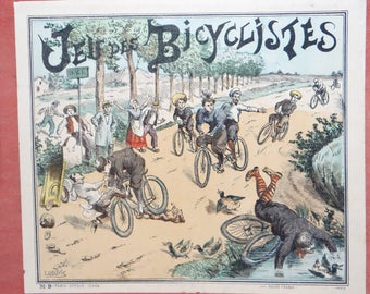 Early 1900's French Jeu des Bicyclistes Game, Paris, Antique Bicycle Board Game with Chromolithograph