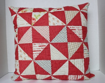 Pinwheel Patchwork Quilted Pillow Cover, Handmade Cushion Cover, Zipper Back Closure, Fig Tree Fabrics, Handmade 18 inch Pillow Cover