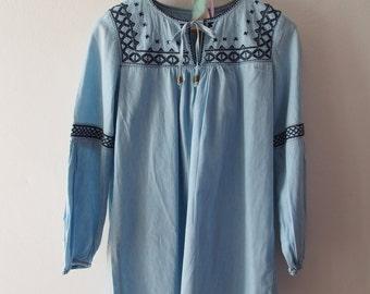 Vintage Denim Top Boho Bohemian Mini Dress