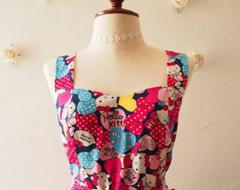 Clearance SALE Hello Kitty Dress Women Kitty Dress Navy Pink Heart Sundress Summer Dress with Matching Headband or Use as Waist Sash or C...