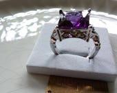 Tourmaline & White Topaz Gemstone Ring, Size 8,9, Silver Plate, Genuine Gemstones, Supply