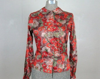 ON SALE // Vintage 1960s Floral Blouse 60s Fall Colored Nylon Button Down Shirt by Donkenny M