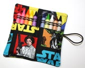 CUSTOM May 7 Party, Star Wars Party Favors Luke Princess DarthVader fabric Crayon Roll Star Wars Birthday Party Favors crayon holder