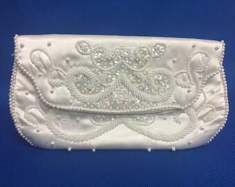 Vintage Bon Soir White Satin Pearl Beaded Clutch Bridal Wedding Handbag Purse 50s
