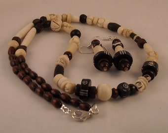 Afrocentric Tribal Beaded Necklace and Dangle Earrings Set