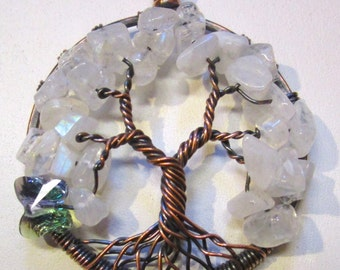 Tree of Life Rainbow Moonstone  Swarovski Crystal Butterfly, Moonstone Tree of Life, Moonstone Jewelry, Moonstone Tree