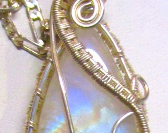 Rainbow Moonstone Fine Silver Wire Wrapped,  Rainbow Moonstone Necklace, Moonstone Jewelry