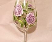 Lavender hydrangeas hand painted wine glasses
