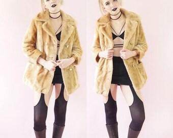 SALE Tan 70s Faux Fur Margot Pea Coat, Double Breasted Vintage 1970s Pea Coat, Vintage Boho Fur Coat, Women's Size Small